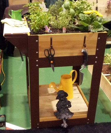 Herb and Salad Bowl Garden Planter with matching tool hooks and side shelf